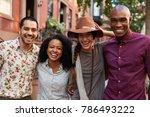 portrait of friends walking... | Shutterstock . vector #786493222