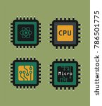 a set of icons of micro chips... | Shutterstock .eps vector #786501775