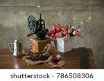 vintage manual coffee grinder... | Shutterstock . vector #786508306