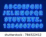 font neon blue symbol  light... | Shutterstock .eps vector #786522412