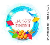 makar sankranti with beautiful... | Shutterstock .eps vector #786537178