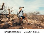 tired hiker drinks water from a ...   Shutterstock . vector #786545518