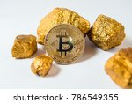 bitkoi coin. and gold nuggets....   Shutterstock . vector #786549355