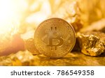 bitkoi coin. and gold nuggets.... | Shutterstock . vector #786549358