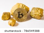 bitkoi coin. and gold nuggets....   Shutterstock . vector #786549388