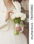 wedding bouquet of white tulips ...   Shutterstock . vector #786550882