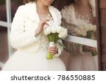 wedding bouquet of white tulips ... | Shutterstock . vector #786550885