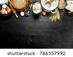 flour with grains and spikelets ... | Shutterstock . vector #786557992