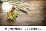 glass of natural beer. on a... | Shutterstock . vector #786558502