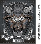 vintage motorcycle label | Shutterstock . vector #786573496