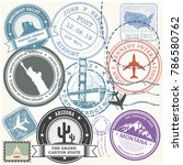 united states travel stamps set ... | Shutterstock .eps vector #786580762