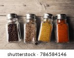 spices in glass bottle and... | Shutterstock . vector #786584146