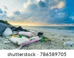 garbage on the beach | Shutterstock . vector #786589705