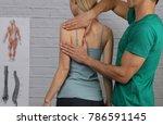 woman having chiropractic back...   Shutterstock . vector #786591145
