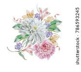 watercolor bouquet with flowers.... | Shutterstock . vector #786593245