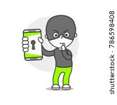 vector person with phone... | Shutterstock .eps vector #786598408