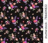 seamless floral summer pattern... | Shutterstock . vector #786604822