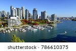 Autumn landscape of false creek in Vancouver downtown, BC, Canada - stock photo