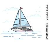 modern sail yacht in the sea.... | Shutterstock .eps vector #786611662
