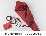 flat lay with bouquet of roses  ... | Shutterstock . vector #786615958