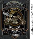 american vintage motorcycle... | Shutterstock . vector #786616942