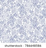 seamless vector floral pattern | Shutterstock .eps vector #786648586