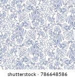 seamless vector floral pattern | Shutterstock .eps vector #786648586