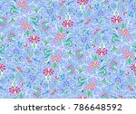 seamless vector floral pattern... | Shutterstock .eps vector #786648592