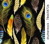 decorative feathers seamless | Shutterstock .eps vector #786658726