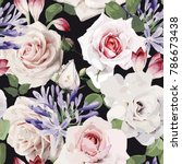 seamless floral pattern with... | Shutterstock .eps vector #786673438