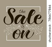 white hand sketched vector text ... | Shutterstock .eps vector #786677866