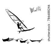 an illustration of a windsurfer ... | Shutterstock .eps vector #786688246