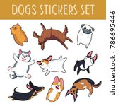 dogs emoji stickers patches... | Shutterstock .eps vector #786695446