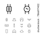 clothing icons set with hair ...