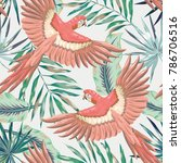 Stock vector pink macaw parrots with green palm leaves on the gray background vector seamless pattern tropical 786706516