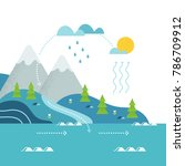 water cycle and mountain river... | Shutterstock .eps vector #786709912
