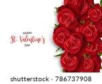 love flower bouquet valentines... | Shutterstock .eps vector #786737908