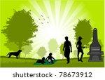 family picnic in the garden  ... | Shutterstock .eps vector #78673912
