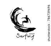 logo for school surfing. surfer ... | Shutterstock .eps vector #786739696