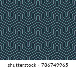 Stock vector seamless neon blue op art geo abstract isometric vintage stripes pattern vector 786749965