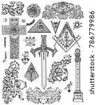 design set with graphic... | Shutterstock .eps vector #786779986