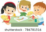 happy kids drawing together... | Shutterstock .eps vector #786781516