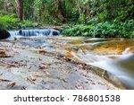 beautiful waterfalls in green... | Shutterstock . vector #786801538