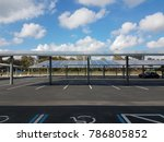 parking lot with solar panel... | Shutterstock . vector #786805852