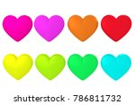 colorful heart white background ... | Shutterstock . vector #786811732
