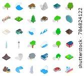 miami landscape icons set.... | Shutterstock .eps vector #786824122