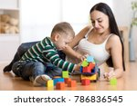 mom and her child son plays... | Shutterstock . vector #786836545