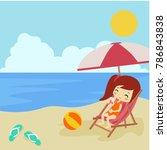 summer beach illustration vector | Shutterstock .eps vector #786843838