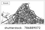 kuwait map in black and white... | Shutterstock .eps vector #786889072