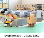 robotic arm picking parcel from ... | Shutterstock . vector #786891352